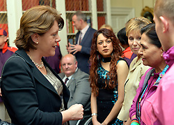 © Licensed to London News Pictures. 28/11/2012. Westminster, UK Secretary of State for Culture Maria Miller meets recipients of the Big Society awards in Downing Street this evening 28 November 2012. The Big Society Awards were set up by the Prime Minister in November 2010. Twelve winners are decided each quarter and then announced once a week throughout the year. Winners receive an invitation to a reception at No.10 Downing Street and get the chance to attend a practical networking and support event earlier in the day.  They also receive a plaque and signed certificate from the Prime Minister. Photo credit : Stephen Simpson/LNP