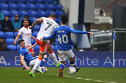 Kyle Vassell of Blackpool (C) scores his sides first goal - Mandatory by-line: Jack Phillips/JMP - 02/04/2018 - FOOTBALL - Sportsdirect.com Park - Oldham, England - Oldham Athletic v Blackpool - Football League One
