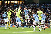 Dinamo Zagreb defender Emir Dilaver (66) heads towards goal from the corner during the Champions League match between Manchester City and Dinamo Zagreb at the Etihad Stadium, Manchester, England on 1 October 2019.