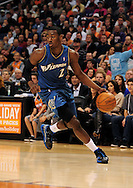 Dec. 5 2010; Phoenix, AZ, USA; Washington Wizards guard John Wall (2) drives the ball during the first half against Phoenix Suns during at the US Airways Center. Mandatory Credit: Jennifer Stewart-US PRESSWIRE.