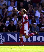 Photo: Richard Lane.<br />Walsall v Aston Villa. Pre-season friendly. 02/08/2003.<br />Paul Merson celebrates his forst home goal for Walsall.