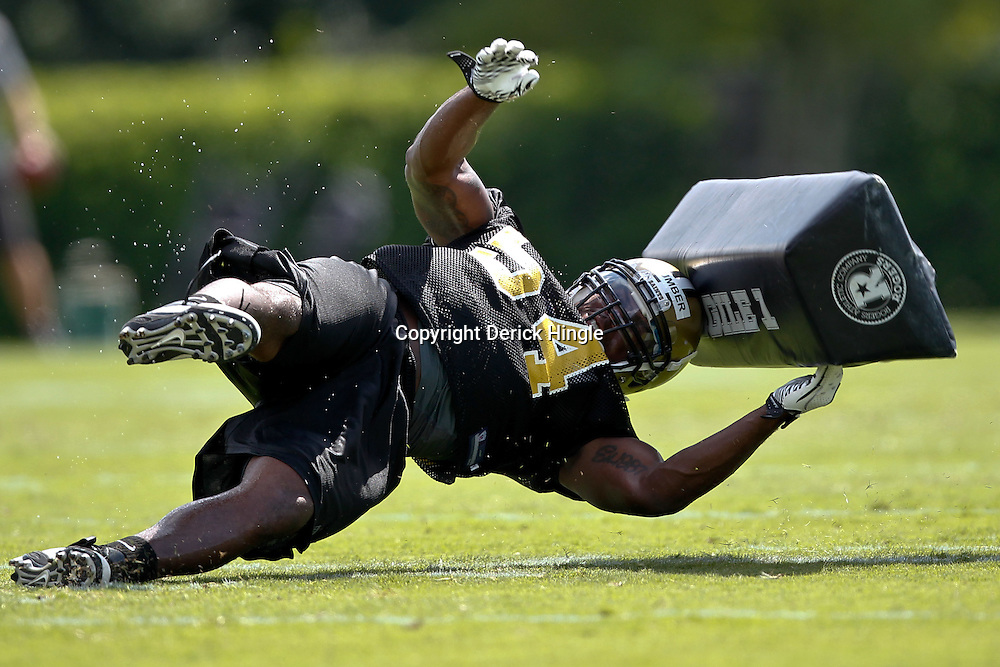 July 29, 2011; Metairie, LA, USA; New Orleans Saints rookie linebacker Romon Humber (54) participates in a slap drill during the first day of training camp at the New Orleans Saints practice facility. Mandatory Credit: Derick E. Hingle