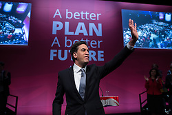 © Licensed to London News Pictures . 13/04/2015 . Manchester , UK . Labour Party leader ED MILIBAND launches the Labour Party manifesto ahead of the General Election , at a speech and Q&A at the Old Granada Studios in Manchester , UK . Photo credit : Joel Goodman/LNP