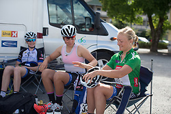 Emilie Moberg (NOR) of Hitec Products Cycling Team prepares for the 97,1 km second stage of the 2016 Ladies' Tour of Norway women's road cycling race on August 13, 2016 between Mysen and Sarpsborg, Norway. (Photo by Balint Hamvas/Velofocus)
