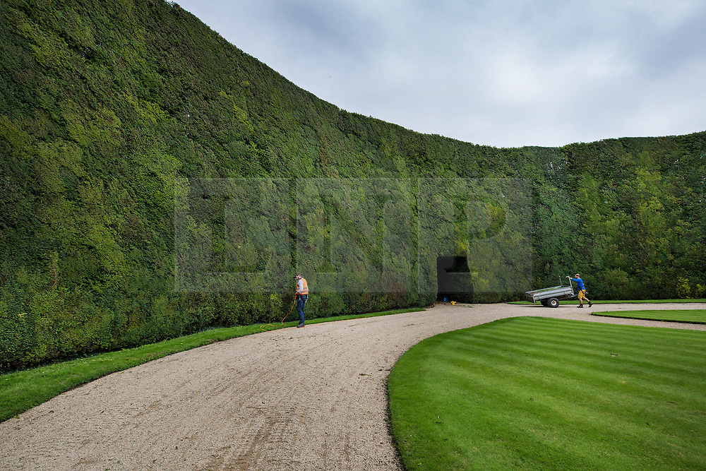 © Licensed to London News Pictures. 07/08/2017. Cirencester, UK. Foresters Jason Buckton (L) and John Rutterford prepare to trim the world's tallest yew hedge on The Bathurst Estate.  The 40 foot tall 150 yard wide hedge is trimmed every august over a two week period. Six inches of growth are cut making a ton of clippings. The clippings have been used in past years in the making of a cancer drug.   Photo credit: Peter Macdiarmid/LNP