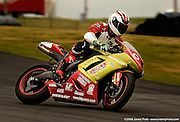 Eighteen year old Dustin Dominquez on his Kawasaki ZX-6 race bike at Hallett Raceway in Hallett, Oklahoma