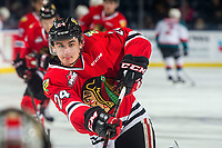 KELOWNA, BC - MARCH 03: Seth Jarvis #24 of the Portland Winterhawks warms up against the Kelowna Rockets  at Prospera Place on March 3, 2019 in Kelowna, Canada. (Photo by Marissa Baecker/Getty Images)
