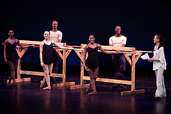 The dancers which come from around all different places perform common poses and positions at the barre for the students.  (Bottom L-R) Ashley Murphy (LA) Stephanie Williams (TX)  Ingrid Silva (Brazil), (Top L-R) Anthony Savoy, Maryland, Davon Downe, MD.  Narrator Danielle Thomas.  © Aisha-Zakiya Boyd