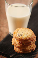 Cookies an glass of milk - close-up