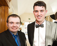 The Ability West Best Buddies Ball at the Menlo Park Hotel, Galway. Students from GMIT and NUIG buddy up with Ability West Service users for friendships that last a lifetime celebrated at this gala ball.<br /> Enjoying the night were Stephen Joyce and <br /> Patrick Canning NUIG<br /> <br />  Photo:Andrew Downes, xposure.