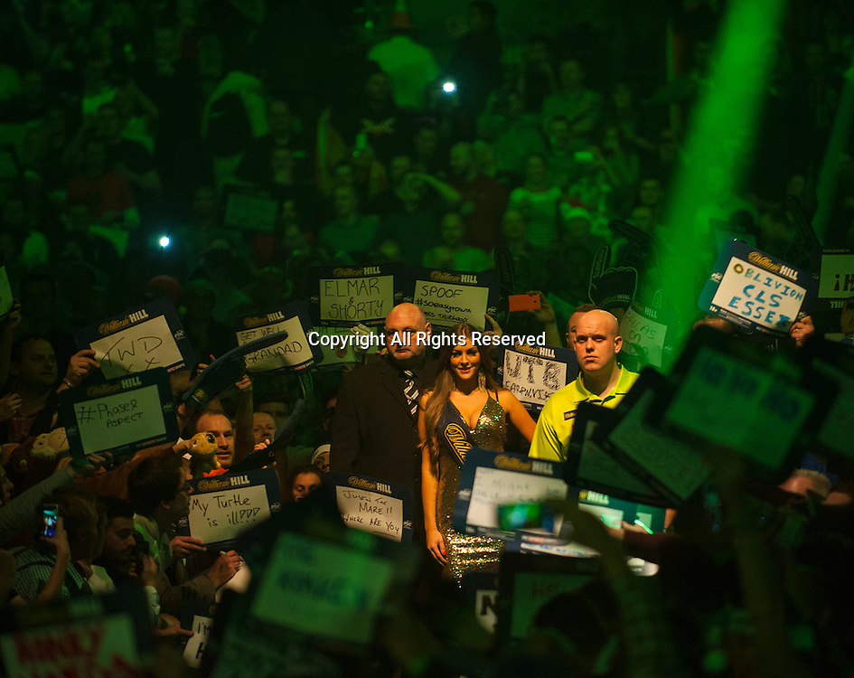 03.01.2015.  London, England.  William Hill PDC World Darts Championship.  Semi Final Round.  Michael van Gerwen (1) [NED] makes his way to the stage before his match against Gary Anderson (4) [SCO]