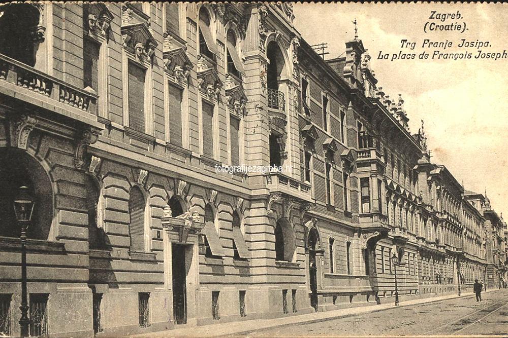 Zagreb (Croatie) : Trg Franje Josipa = La place de François Josephe. <br /> <br /> ImpresumZagreb : Svjetlotiskarski zavod R. Mosinger, [19--].<br /> Materijalni opis1 razglednica : tisak ; 8,9 x 13,7 cm.<br /> NakladnikSvjetlotiskarski zavod R. Mosinger<br /> Mjesto izdavanjaZagreb<br /> Vrstavizualna građa • razglednice<br /> ZbirkaGrafička zbirka NSK • Zbirka razglednica<br /> Formatimage/jpeg<br /> PredmetZagreb –– Trg kralja Tomislava<br /> SignaturaRZG-TOM-5<br /> Obuhvat(vremenski)20. stoljeće<br /> NapomenaRazglednica je putovala.<br /> PravaJavno dobro<br /> Identifikatori000952732<br /> NBN.HRNBN: urn:nbn:hr:238:296447 <br /> <br /> Izvor: Digitalne zbirke Nacionalne i sveučilišne knjižnice u Zagrebu