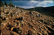 MEDJUGORJE, BOSNIA-HERCEGOVINA: The hill of Podbrdo of Mount Crnica, also known as Apparition Hill, is the site of the first apparitions of the Virgin Mary in Medjugorje. The Virgin Mary is said to have first appeared at this site to 6 children at around 6:00 p.m. that day. Since that day, estimates put the number of pilgrims at over 30 million, the faithful have visited the site crushing the rocky terrain beneath them.  (Photo by Robert Falcetti). .