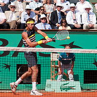 1 June 2009: Juan Martin Del Potro of Argentina hits a backhand during the Men's Single Fourth Round match on day nine of the French Open at Roland Garros in Paris, France.