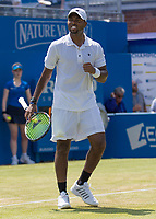Tennis - 2017 Aegon Championships [Queen's Club Championship] - Day Three, Wednesday<br /> <br /> Men's Singles, Round of 16 -Viktor TROICKI (SRB) Vs Donald YOUNG (USA)<br /> <br /> Donald Young (USA) celebrates after his victory on centre court at Queens Club<br /> <br /> <br /> COLORSPORT/DANIEL BEARHAM