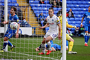 Wycombe midfielder Matthew Bloomfield (10) celebrates a Wycombe goal during the EFL Sky Bet League 1 match between Peterborough United and Wycombe Wanderers at London Road, Peterborough, England on 2 March 2019.