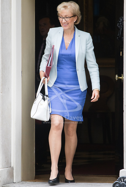 Downing Street, London, September 9th 2016.  Environment, food and Rural Affairs Secretary Andrea Leadsom leaves 10 Downing Street following the weekly cabinet meeting.