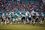 The New York Jets leap while trying to block a 43 yard Miami Dolphins field goal good for a 3-0 second quarter lead during the NFL week 9 regular season football game against the New York Jets on Sunday, Nov. 4, 2018 in Miami Gardens, Fla. The Dolphins won the game 13-6. (©Paul Anthony Spinelli)