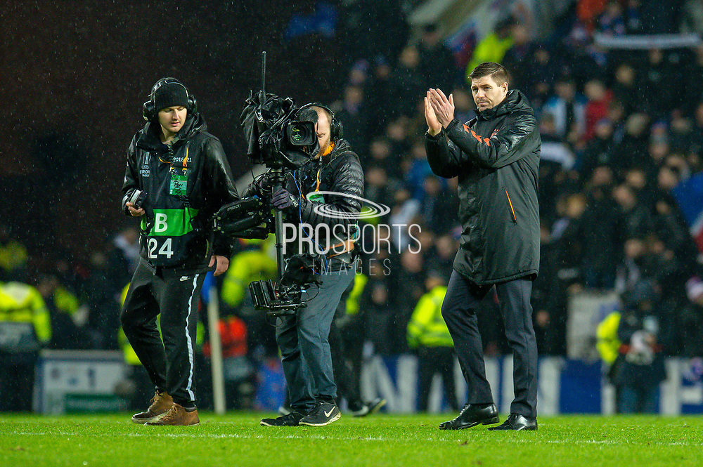 Steven Gerrard, manager of Rangers FC applauds the fans after the final whistle of the Europa League Group G match between Rangers FC and BSC Young Boys at Ibrox Park, Glasgow, Scotland on 12 December 2019.