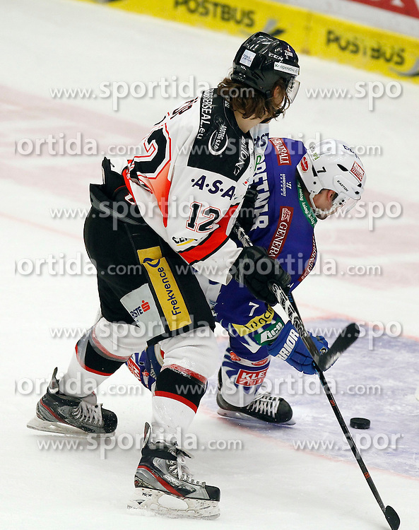 22.02.2015, Stadthalle, Villach, AUT, EBEL, EC VSV vs HC Orli Znojmo, Plazierungsrunde, im Bild v.l. Radek Cip (Znojmo) und Klemen Pretnar (VSV) // during the Erste Bank Icehockey League placement round match between EC VSV vs HC Orli Znojmo at the City Hall in Villach, Austria on 2015/02/22, EXPA Pictures © 2015, PhotoCredit: EXPA/ Oskar Hoeher