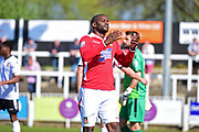 Wrexham Forward Izale McLeod misses an easy chance during the Vanarama National League match between Bromley FC and Wrexham FC at Hayes Lane, Bromley, United Kingdom on 8 April 2017. Photo by Jon Bromley.