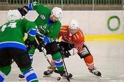 KRISTAN Robert of HK SZ Olimpija and Victor Ahlstrom of Rittner Baum during hockey match between HK SZ Olimpija (SLO) and Rittner Buam (ITA) in 1st round of Alps Hockey League 2017/18, on September 13, 2017 in Tivoli, Ljubljana, Slovenia. Photo by Urban Urbanc / Sportida