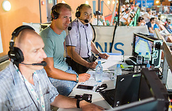 Grega Zemlja and Ervin Curlic as TV commentators at 1st Semifinal match at Day 8 of ATP Challenger Zavarovalnica Sava Slovenia Open 2018, on August 10, 2018 in Sports centre, Portoroz/Portorose, Slovenia. Photo by Vid Ponikvar / Sportida