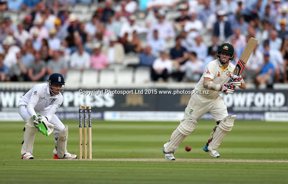 Chris Rogers bats during the second Investec Ashes Test Match between England and Australia at Lord's Cricket Ground, London. Photo: Graham Morris/www.cricketpix.com (Tel: +44 (0)20 8969 4192; Email: graham@cricketpix.com) 16072015