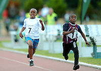 21 Aug 2016:   Brian Chinda, left, Laois, and Caleb Ike, from Galway, head for the finish line in the U8 Boys 60m final.  2016 Community Games National Festival 2016.  Athlone Institute of Technology, Athlone, Co. Westmeath. Picture: Caroline Quinn
