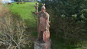 Aerial view of the statue of William Wallace, commissioned by David Steuart Erskine and made 1814 by John Smith of Darrick, in the grounds of Bemersyde House at Bemersyde, near Melrose in Roxburghshire, Borders, Scotland. Sir William Wallace, d. 1305, fought for the Scots during the Scottish Wars of Independence, defeated the English at the Battle of Stirling Bridge and was put to death for treason by Edward I. Picture by Manuel Cohen
