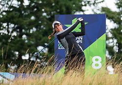 Gleneagles, Scotland, UK; 10 August, 2018.  Day three of European Championships 2018 competition at Gleneagles. Men's and Women's Team Championships Round Robin Group Stage. Four Ball Match Play format.  Pictured; Georgia Hall of Great Britain on the 8th tee  in match against Belgium.