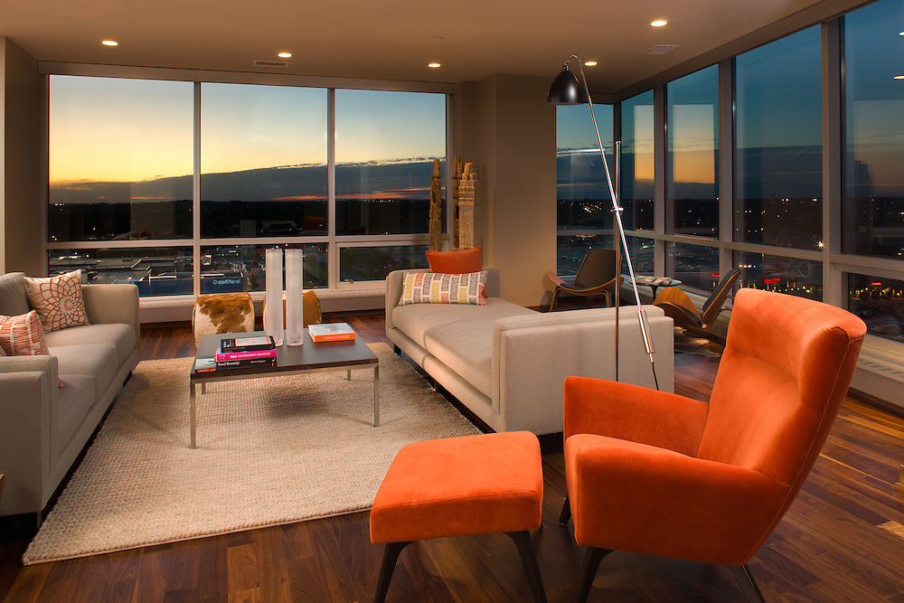 Architectural interior photography of the Edina Galleria Condominums by photographer James Michael Kruger.