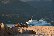 Corsica south ; Propriano. Capo Lauroso beach  at sunset /   la plage de capo lauroso ,