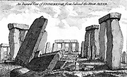 Stonehenge. Megalithic monument on Salisbury Plain, England, dating from c2000 BC. Copperplate engraving 1760