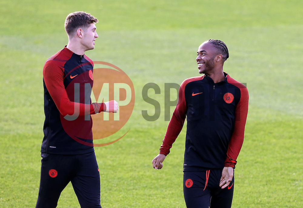 John Stones of Manchester City talks with Raheem Sterling - Mandatory by-line: Matt McNulty/JMP - 18/10/2016 - FOOTBALL - Manchester City - Training session ahead of Champions League qualifier against FC Barcelona