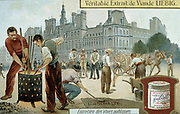 Laying asphalt-based surface in a Paris street.  Sand is being spread to stop surface adhering to traffic until set.  Workmen cleaning and heating their tools in brazier.  Raw asphalt found in natural deposits and also a by-product of petroleum and coal-tar industries. Liebig trade card c1900. Chromolithograph.