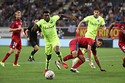 Taiwo Awoniyi (Gent) and Pablo Castro (Bordeaux) fight for the ball during the first leg of the Uefa Europa League play-off match between Kaa Gent and Girondins de Bordeaux on August 23, 2018 in Ghent, Photo Vincent Van Doornick / Isosport / Pro Shots / ProSportsImages / DPPI