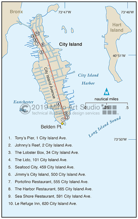 Vector map of City Island, New York