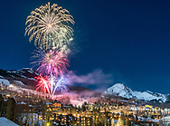 New Year's Eve fireworks in Snowmass Village, Colorado.
