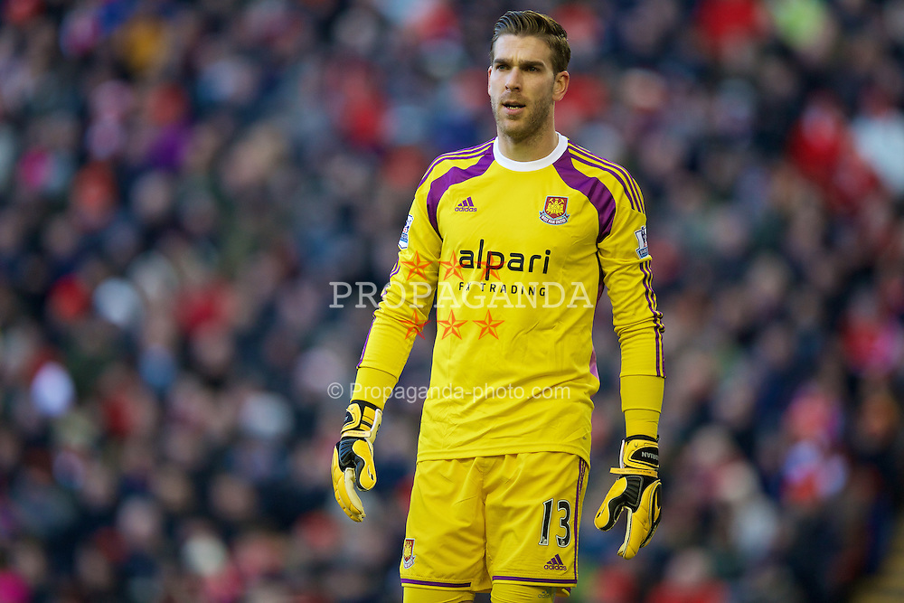 LIVERPOOL, ENGLAND - Saturday, January 31, 2015: West Ham United's goalkeeper Adrian in action against Liverpool during the Premier League match at Anfield. (Pic by David Rawcliffe/Propaganda)