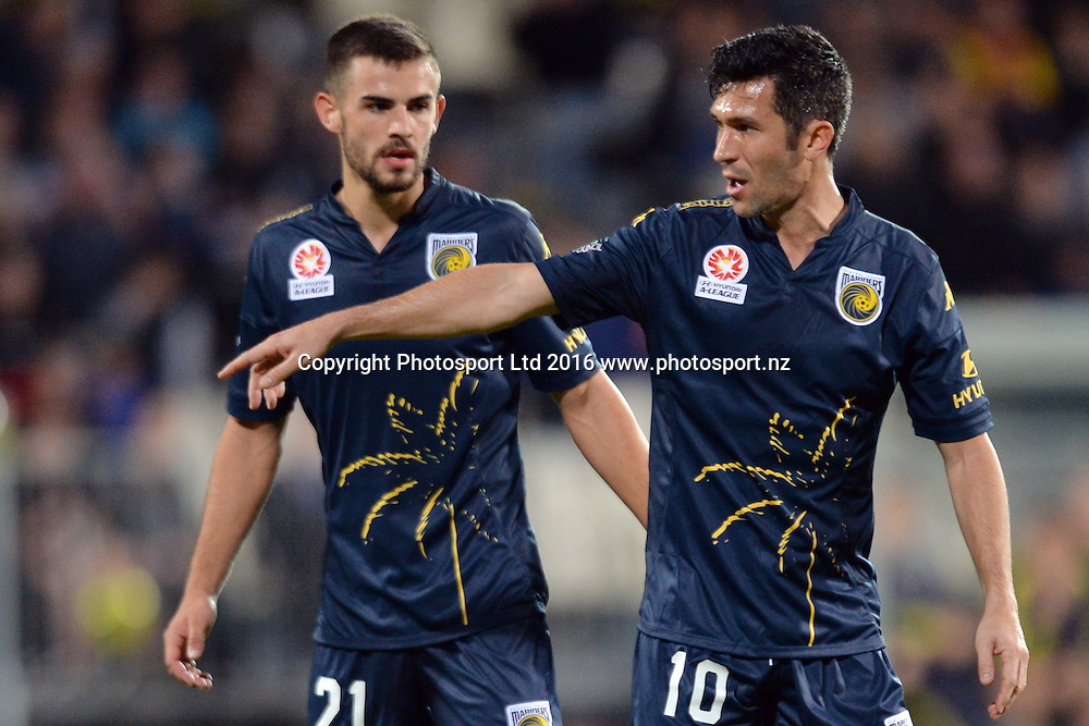 Michael Neill and Luis Garcia of the Mariners (L-R) reacting during the round 17 A-League match between the Wellington Phoenix and the Central Coast Mariners at AMI Stadium in Christchurch, New Zealand. 30 January 2016. Photo: Kai Schwoerer / www.photosport.nz