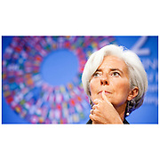 Managing Director (MD) and Chairwoman of the International Monetary Fund (IMF) Christine Lagarde at a press conference at the annual IMF meeting in Washington. Lagarde has held the position since 5 July 2011.