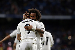 January 25, 2019 - Madrid, Madrid, Spain - Karim Benzema (Real Madrid) seen celebrating with Marcelo (Real Madrid) after scoring a goal during the Copa del Rey Round of quarter-final first leg match between Real Madrid CF and Girona FC at the Santiago Bernabeu Stadium in Madrid, Spain. (Credit Image: © Manu Reino/SOPA Images via ZUMA Wire)