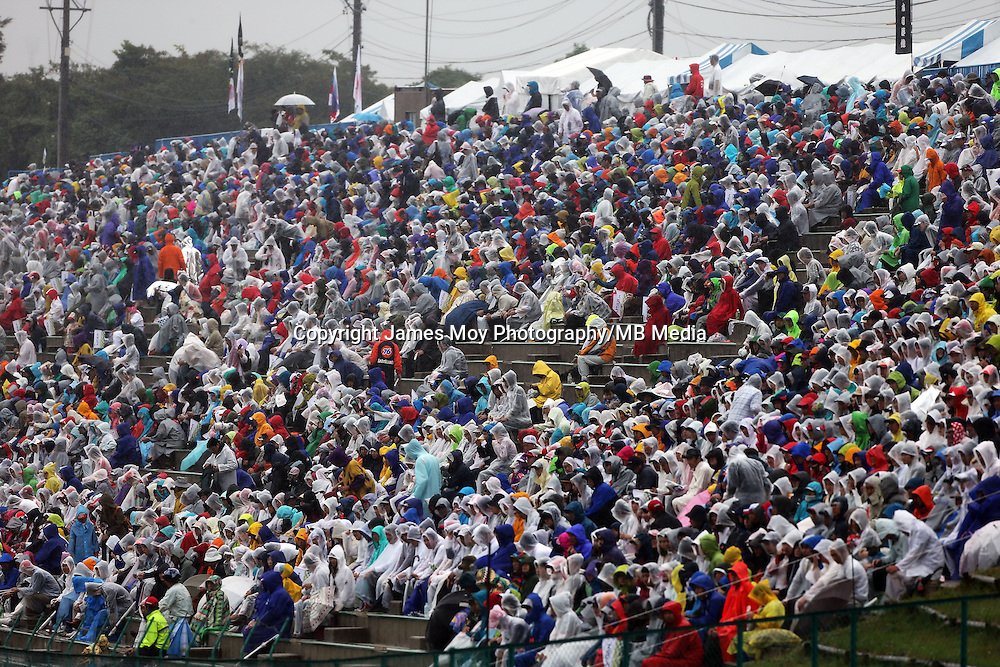 Fans in the grandstand.<br /> Japanese Grand Prix, Sunday 5th October 2014. Suzuka, Japan.