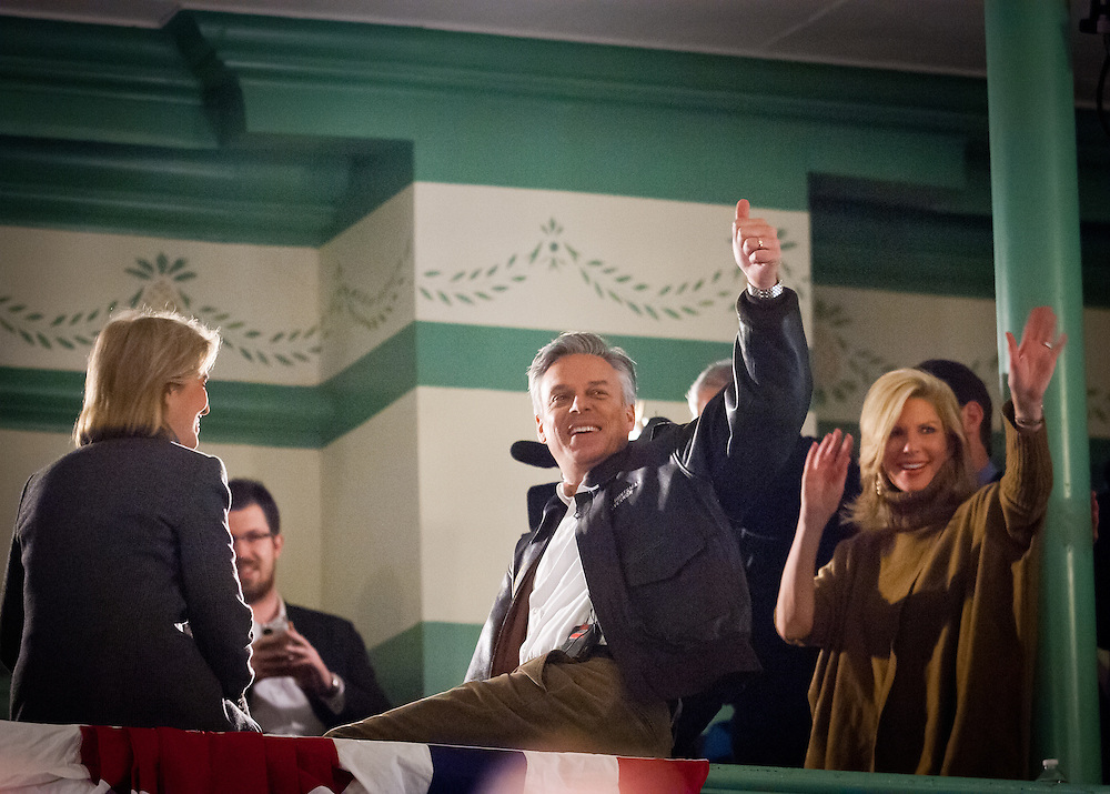 Republican Presidential hopeful former Utah Gov. Jon Huntsman and his wife Mary Kaye wave to the crowd as he holds his last town hall event where he kicked off his campaign. It was Huntsman's 170th event on the eve of the NH Primary. Exeter Town Hall in Exeter, New Hampshire.