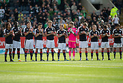 Dundee players one minute's applause for Alan Cousin - Dundee v Celtic in the Ladbrokes Scottish Premiership at Dens Park, Dundee. Photo: David Young<br /> <br />  - &copy; David Young - www.davidyoungphoto.co.uk - email: davidyoungphoto@gmail.com