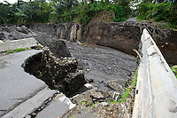 A road bridge destroyed by lahar mud flows, Gunung Merapi, Umbulharjo, Java, Indonesia.