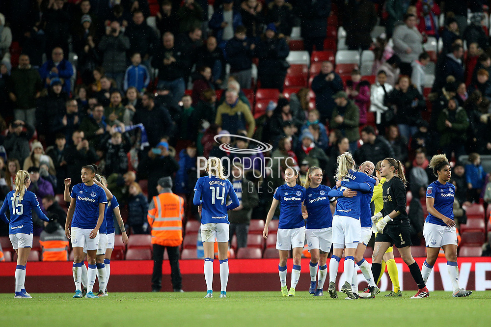 Everton Women celebrate the win 0-1 during the FA Women's Super League match between Liverpool Women and Everton Women at Anfield, Liverpool, England on 17 November 2019.