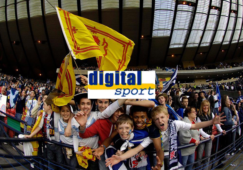 Photo: Jed Wee/Sportsbeat Images.<br /> Scotland v Ukraine. UEFA European Championships Qualifying. 13/10/2007.<br /> <br /> Scotland fans celebrate.