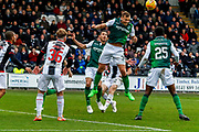 Ryan Porteous of Hibernian FC clears the danger during the Ladbrokes Scottish Premiership match between St Mirren and Hibernian at the Simple Digital Arena, Paisley, Scotland on 29th September 2018.